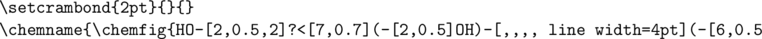 \begin{verbatim} \setcrambond{2pt}{}{} \chemname{\chemfig{HO-[2,0.5,2]?<[7,0.7](-[2,0.5]OH)-[,,,, line width=4pt](-[6,0.5]OH)>[1,0.7](-[6,0.5]OH)-[3,0.7]O-[4]?(-[2,0.3]-[3,0.5]OH)}}{$\alpha$-D-Glucopyranose} \end{verbatim}